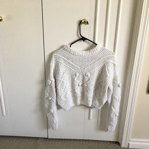 Knit White Chenille Sweater